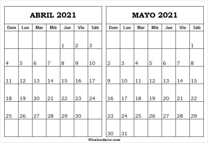 Calendario Abril Mayo 2021 En Chile