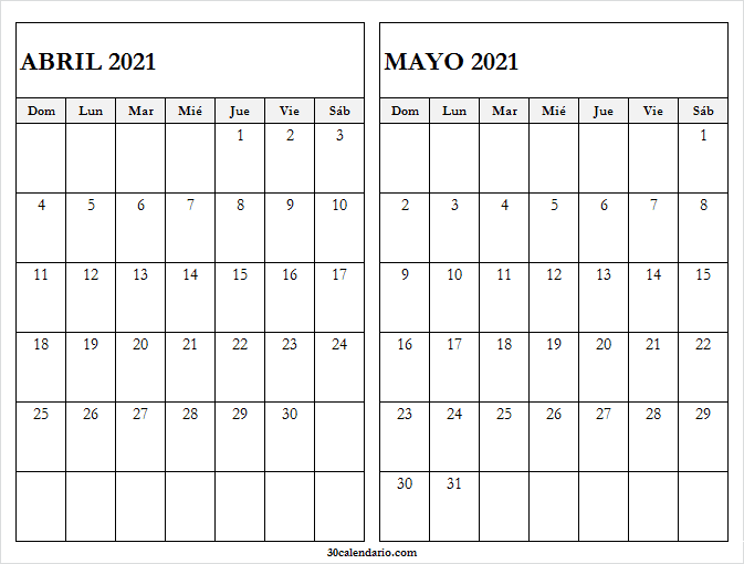 Calendario Abril Mayo 2021 En Colombia