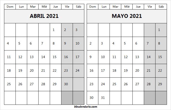 Calendario Abril Mayo 2021 Infantil