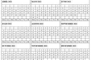 Calendario Abril a Diciembre 2021 Para Imprimir
