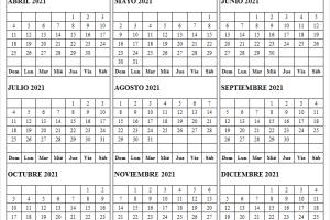 Calendario Abril a Diciembre 2021