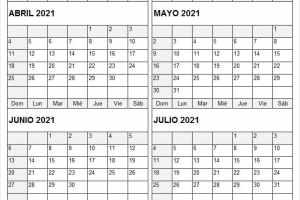 Calendario Abril a Julio 2021 Usa