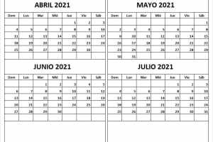 Calendario Abril a Julio 2021