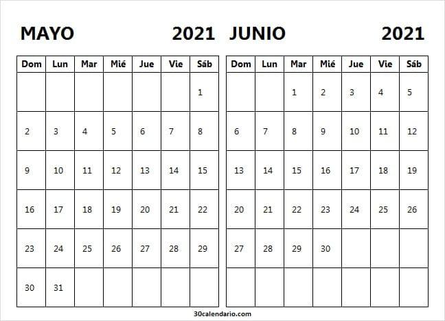 Calendario Blanco Mayo Junio 2021