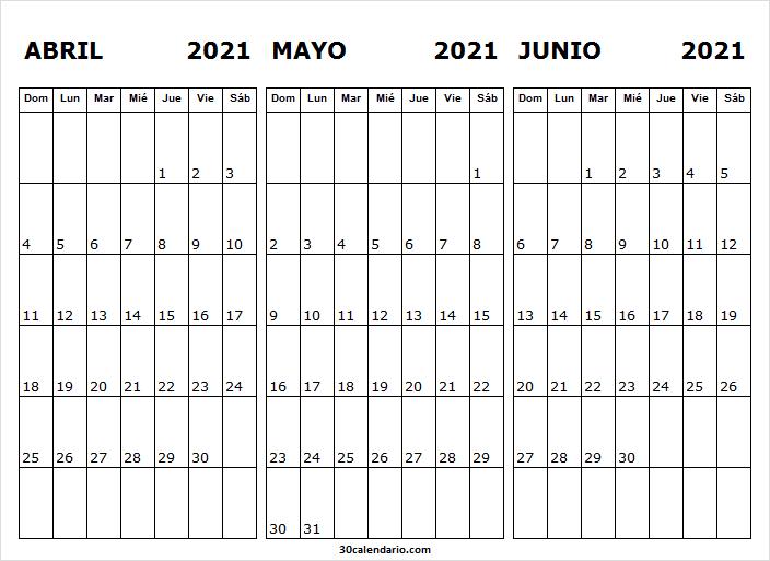 Calendario De Abril a Junio De 2021
