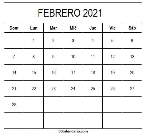 Calendario De Febrero 2021 Para Imprimir