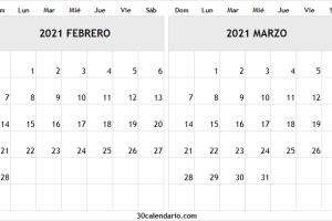 Calendario De Febrero Marzo 2021