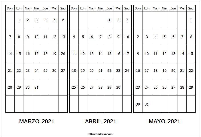 Calendario De Marzo a Mayo De 2021