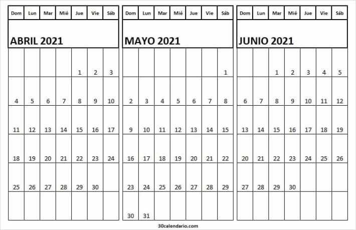 Calendario En Blanco Abril a Junio 2021 Word