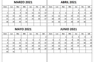 Calendario En Blanco Marzo a Junio 2021 Word
