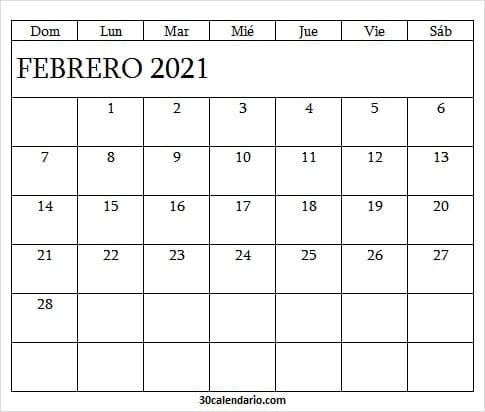 Calendario Febrero 2021 Editable