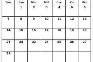 Calendario Febrero 2021 España