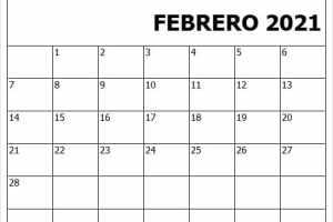 Calendario Febrero 2021 Excel