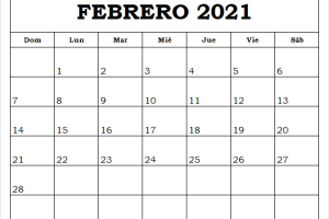 Calendario Febrero 2021 Para Imprimir Bonitos