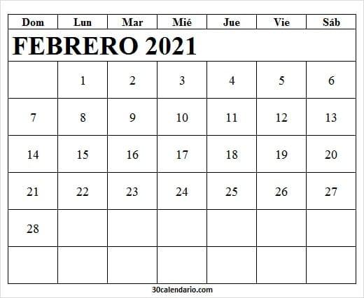Calendario Febrero 2021 Para Imprimir Pdf