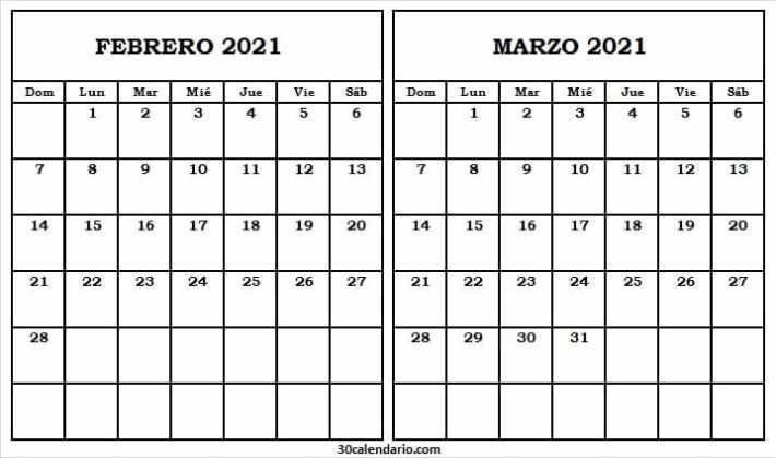 Calendario Febrero Marzo 2021 Bonito
