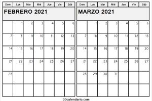 Calendario Febrero Marzo 2021 En Chile