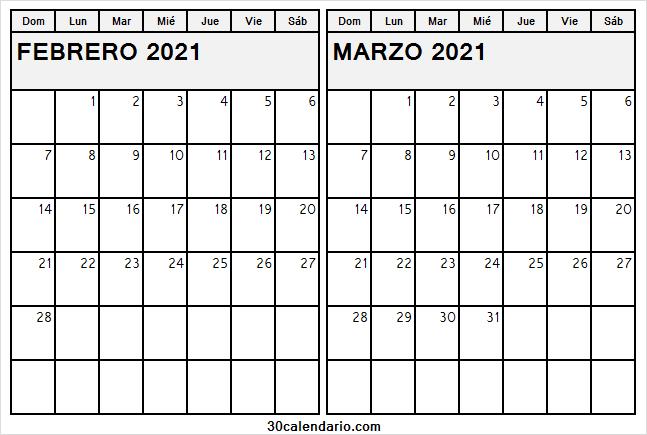 Calendario Marzo 2021 Word Calendario Febrero Marzo 2021 Word   Calendario 2021 Semanas
