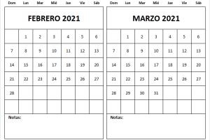 Calendario Febrero Marzo 2021 En Colombia