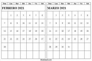 Calendario Febrero Marzo 2021 España