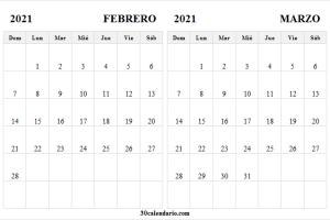 Calendario Febrero Marzo 2021 Ingles