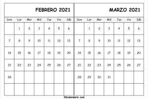 Calendario Febrero Marzo 2021 Para Escribir