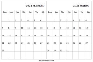 Calendario Febrero Marzo 2021 Para Imprimir Argentina