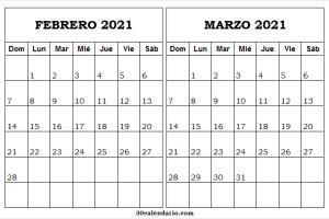 Calendario Febrero Marzo 2021 Pinterest