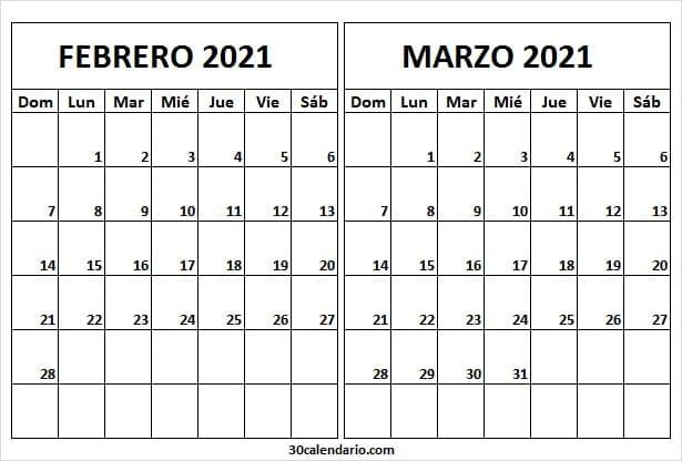 Calendario Febrero Marzo 2021 Word