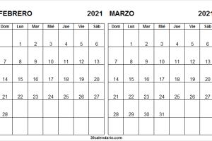 Calendario Febrero Marzo Del 2021