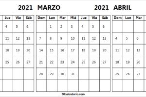 Calendario Febrero a Abril 2021 En Colombia