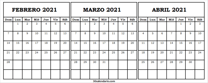 Calendario Febrero a Abril 2021 En Ingles