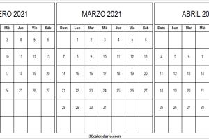 Calendario Febrero a Abril 2021 Pdf