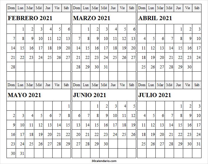 Calendario Febrero a Julio 2021 En Excel