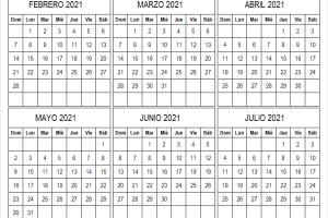 Calendario Febrero a Julio 2021
