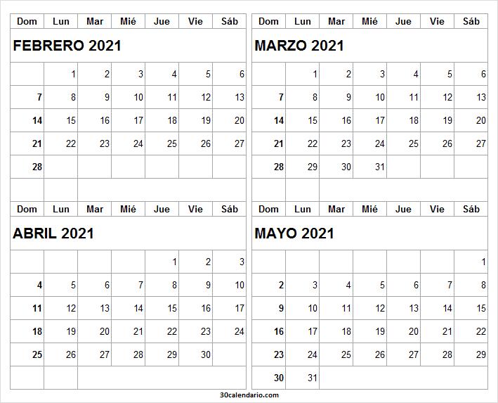 Calendario Febrero a Mayo 2021 En Colombia