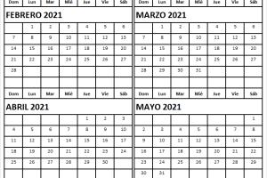 Calendario Febrero a Mayo 2021 En Español