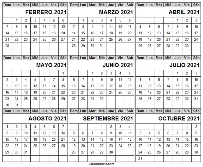 Calendario Febrero a Octubre 2021 En Word