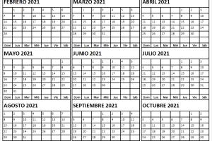 Calendario Febrero a Octubre 2021