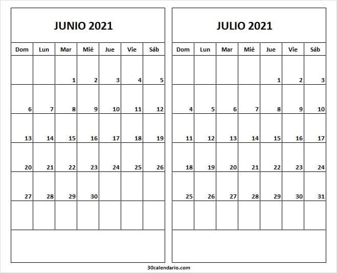 Calendario Junio Julio 2021 En Ingles