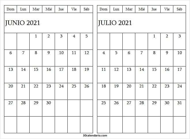 Calendario Junio Julio 2021 Gratis