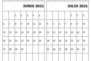 Calendario Junio Julio 2021 Para Editar