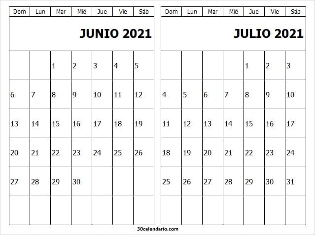 Calendario Junio Julio 2021 Para Editar