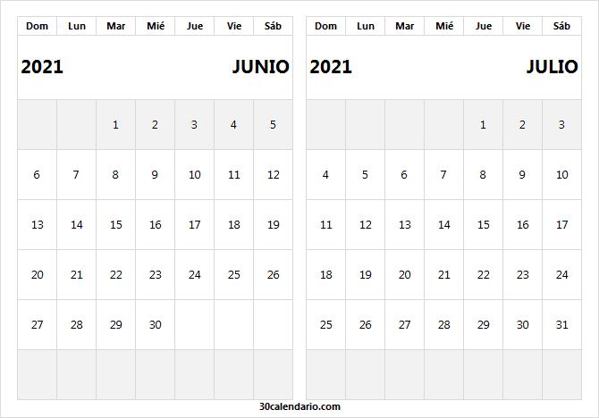 Calendario Junio Julio 2021 Tumblr