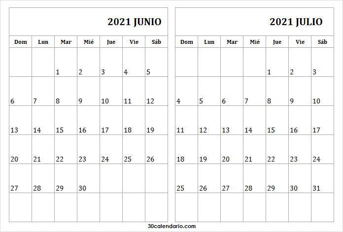 Calendario Junio Julio 2021