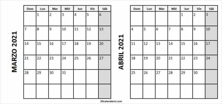 Calendario Marzo Abril 2021 Blanco Y Negro