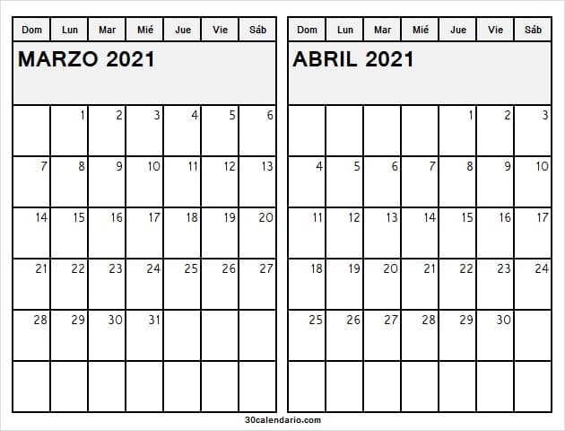 Calendario Marzo Abril 2021 En Colombia