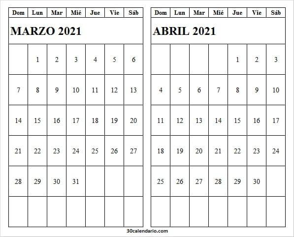 Calendario Marzo Abril 2021 En Ingles