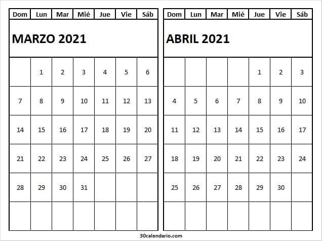 Calendario Marzo Abril 2021 Para Escribir