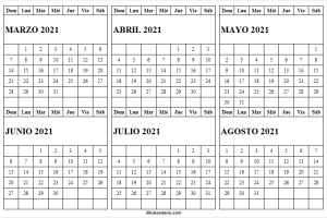 Calendario Marzo a Agosto 2021 Blanco